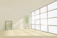 額縁と観葉植物が置かれた部屋 CG