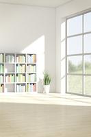 観葉植物と本棚がある部屋 CG