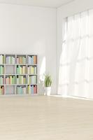 観葉植物と本棚がある部屋 CG 11019032143| 写真素材・ストックフォト・画像・イラスト素材|アマナイメージズ