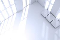 ベンチチェアが置かれた白い部屋 CG