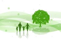 樹木と家族のシルエット CG