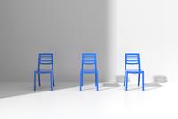 白い部屋に置かれた青い椅子 CG 11019032517| 写真素材・ストックフォト・画像・イラスト素材|アマナイメージズ
