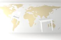 世界地図と浮かぶテーブルと椅子 CG