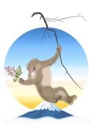 南天を持つサルと富士山 イラスト