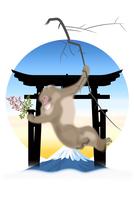 南天を持つサルと鳥居と富士山 イラスト