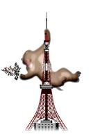東京タワーにつかまるサル イラスト