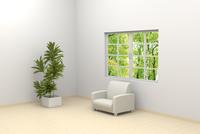 窓辺に置かれたソファと観葉植物 CG