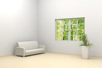 白い部屋に置かれたソファと観葉植物 CG