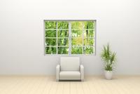 窓辺に置かれたソファと観葉植物 CG 11019033316| 写真素材・ストックフォト・画像・イラスト素材|アマナイメージズ