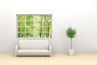 窓辺に置かれたソファと観葉植物 CG 11019033317| 写真素材・ストックフォト・画像・イラスト素材|アマナイメージズ