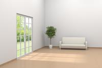 白いソファと観葉植物が置かれたリビングルーム CG 11019033769| 写真素材・ストックフォト・画像・イラスト素材|アマナイメージズ