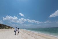 砂浜を歩くカップルの後ろ姿