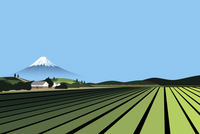 田園風景と富士山 イラスト