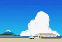 富士山と海の家 イラスト