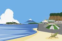 海と江ノ島と富士山 イラスト