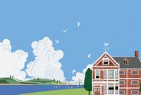 レンガの建物と青空 イラスト
