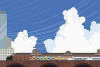 東京駅と電車と新幹線 イラスト