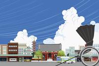 浅草の街並みと人力車 イラスト 11019034055| 写真素材・ストックフォト・画像・イラスト素材|アマナイメージズ