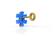 パズルのピースと鍵 CG 11019034317| 写真素材・ストックフォト・画像・イラスト素材|アマナイメージズ
