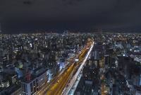本町から大阪港方面を望む大阪市街の夜景