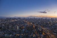 弁天町から大阪駅方面を望む早朝の市街地