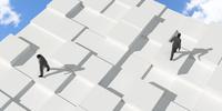 凹凸を歩く2人のビジネスマン CG 11019035323| 写真素材・ストックフォト・画像・イラスト素材|アマナイメージズ