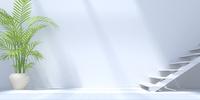 階段のある白い部屋 CG 11019035350| 写真素材・ストックフォト・画像・イラスト素材|アマナイメージズ