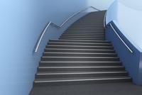 青色の壁と階段 CG