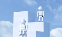 2体のロボットと青空 CG