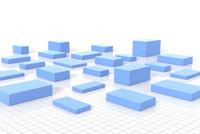 格子模様の上に置かれた複数の四角形 CG