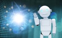 手をあげるロボットと光 CG