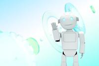 手をあげるロボットと歯車 CG