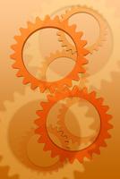 重なり合うオレンジ色の歯車 CG