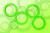 重なり合う緑色の歯車 CG
