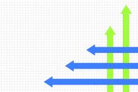 交差する青色と緑色の矢印 CG