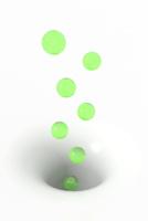 緑色の球体と穴 CG