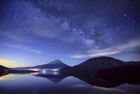 天の川の星空と本栖湖と富士山