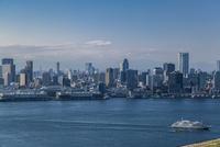東京湾を航行する客船と湾岸のビル群
