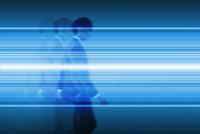 歩くビジネスマンと光る線 CG
