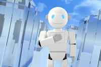 胸に手をあてるロボットと青空 CG