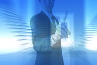 指をさすビジネスマンと光 CG