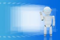 手を挙げるロボットと重なる四角形 CG
