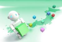 ボックスを持つロボットと日本地図 CG