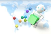 ボックスを持つロボットと地図 CG