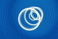 白色のリングと青色の渦 CG