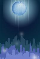 高層ビル群のシルエットと浮かぶ地球 CG