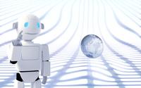 指をさすロボットと浮かぶ地球 CG