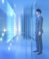 ビジネスマンと光る空間 CG