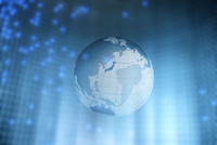 地球と青色の光 CG