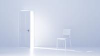 開いた扉と白い椅子 CG 11019037261| 写真素材・ストックフォト・画像・イラスト素材|アマナイメージズ